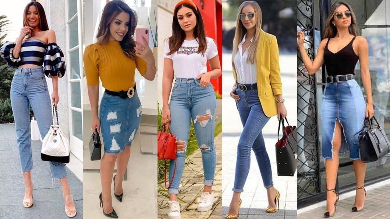 Combinaciones Con Pantalones Y Faldas Jean Denim Mezclilla De Moda 2020 Ideas De Looks Youtube