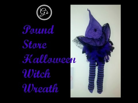 (£1) Poundland Craft - Halloween Witch Wreath DIY/Tutorial