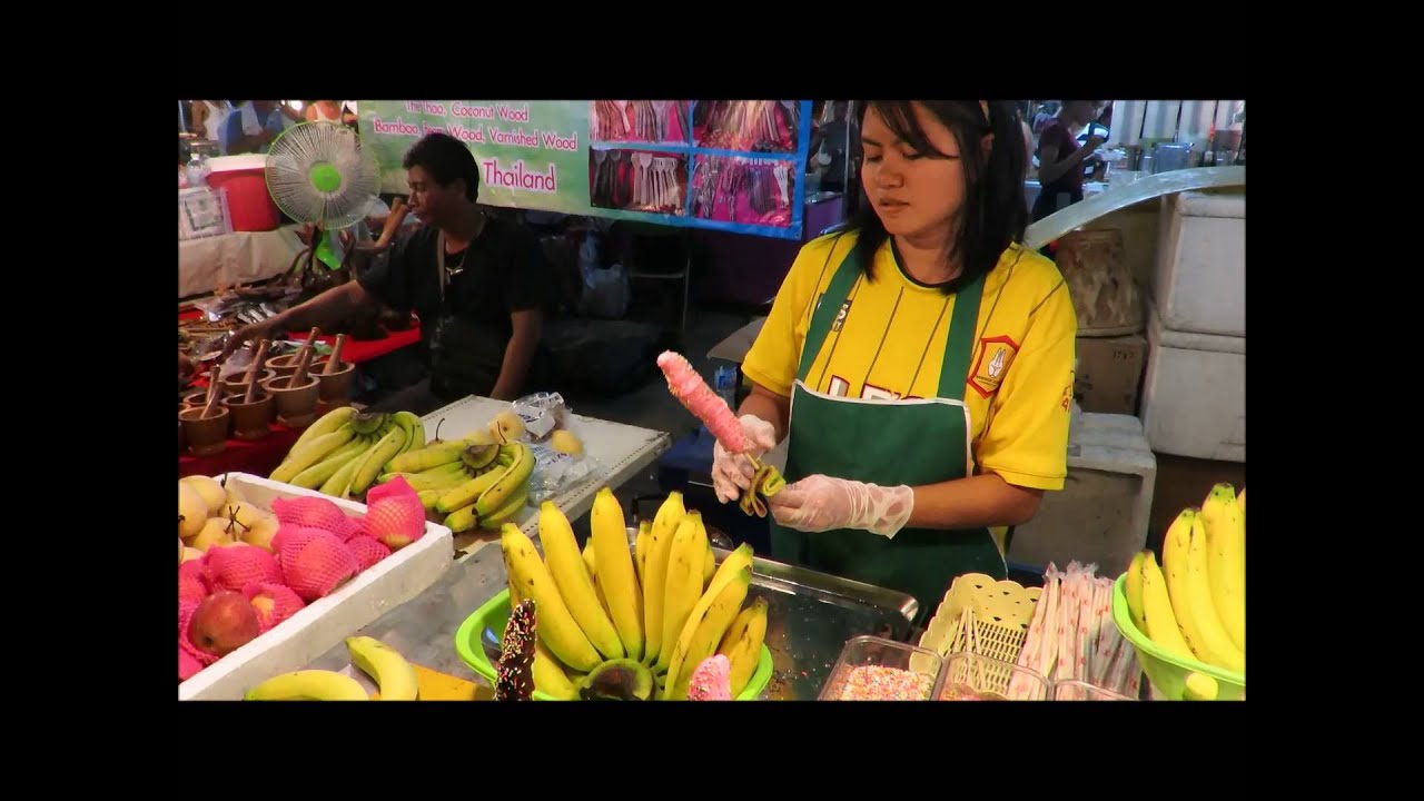 "FUNNY THAI RECIPE ""HAPPY BANANA CHOCOLATE"" thai street ..."