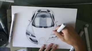 [Special 1k Sub] Drawing Bugatti Veyron SS / Dessin de Bugatti Veyron SS