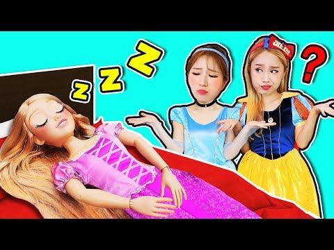 Don't wake up sleeping Rapunzel! Jini princess pretend play