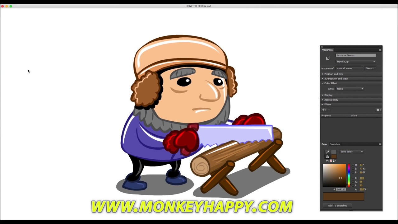 How To Draw And Animate In Adobe Animate Cc  Drawing A Man Sawing A Log