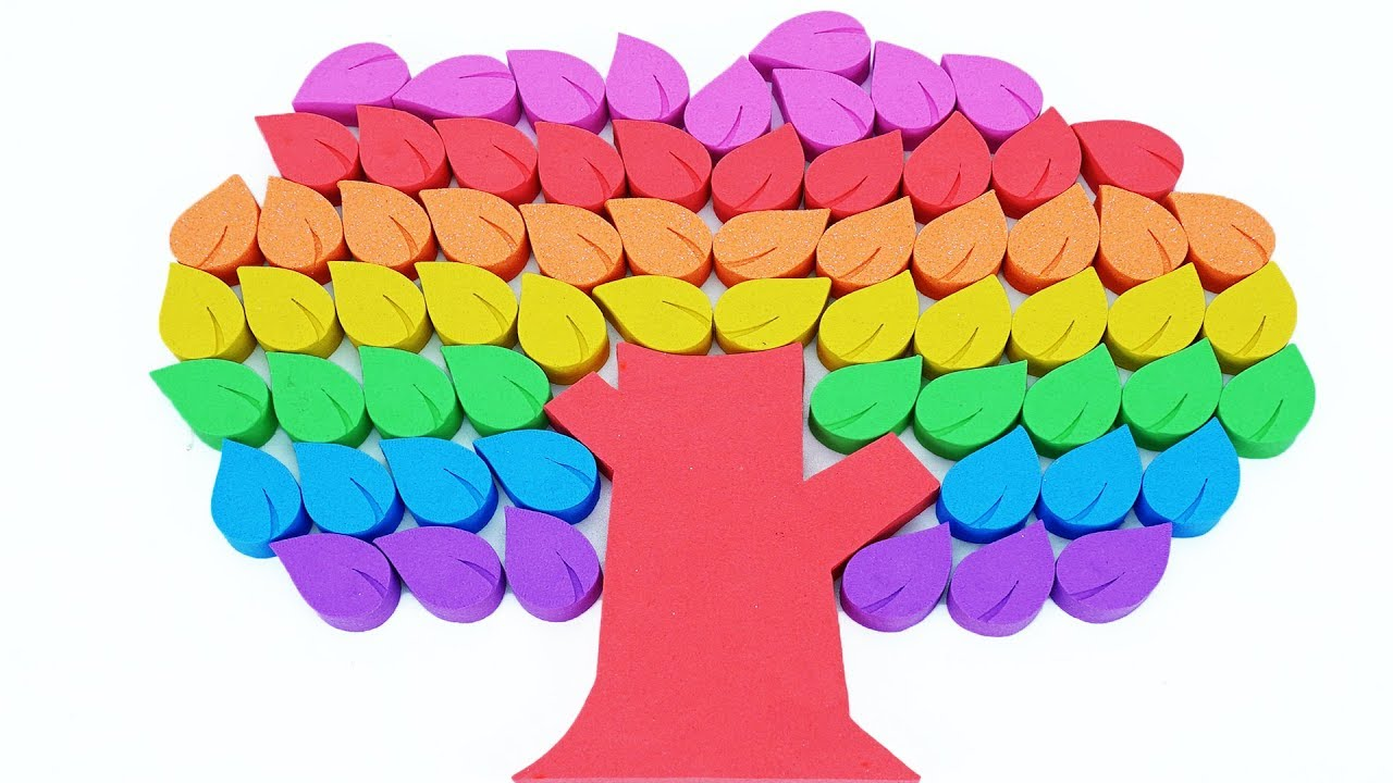 Head Shoulders Knees and Toes | Learn Colors Rainbow Kinetic Sand Tree Leaf Toys for Kids