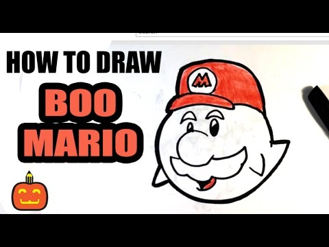 How To Draw Ghost Mario Halloween Drawings Youtube