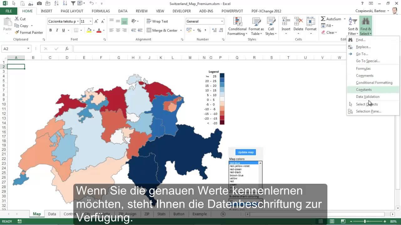 Plz Karte Schweiz.Excel Karte Schweiz Excel Karte De Kartogramm Für Kantone Und Blasendiagramm