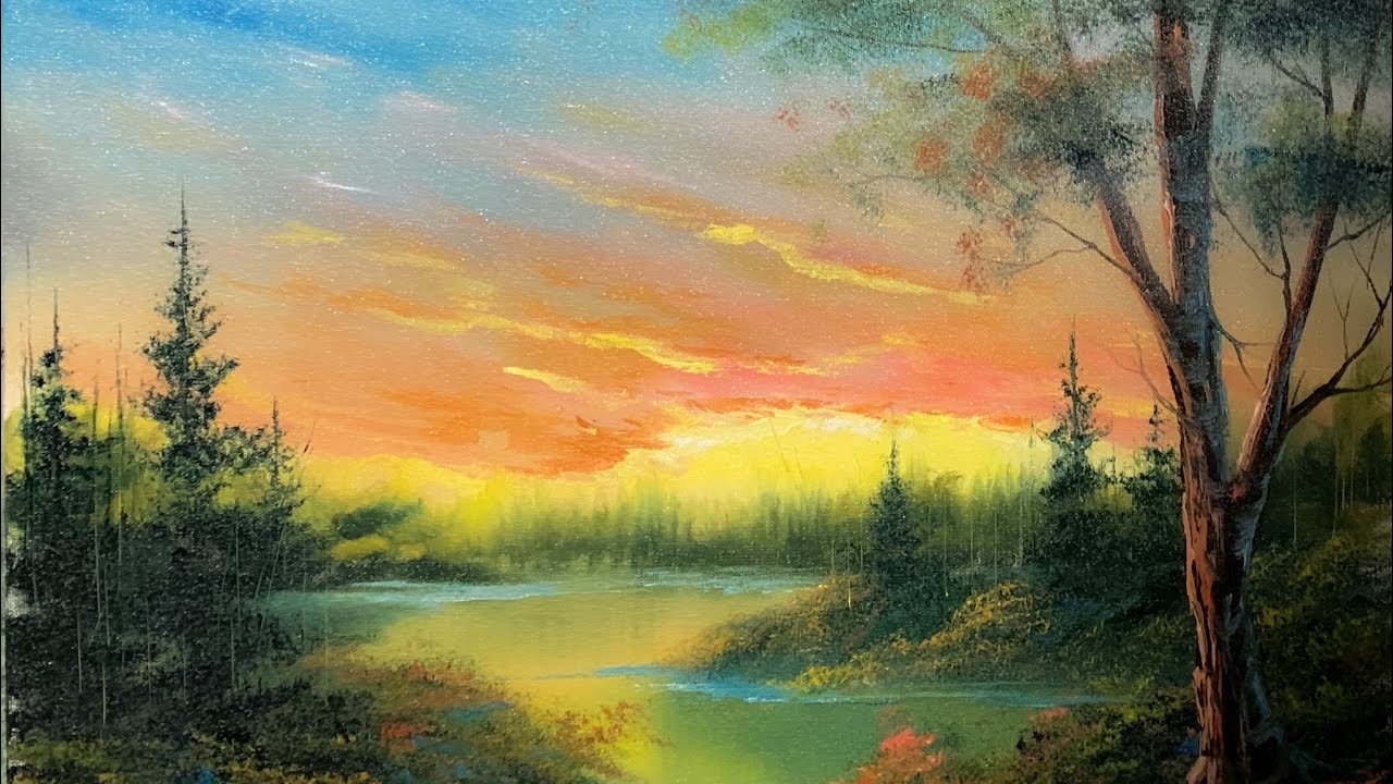 Sunset Lake Oil Painting Tutorial