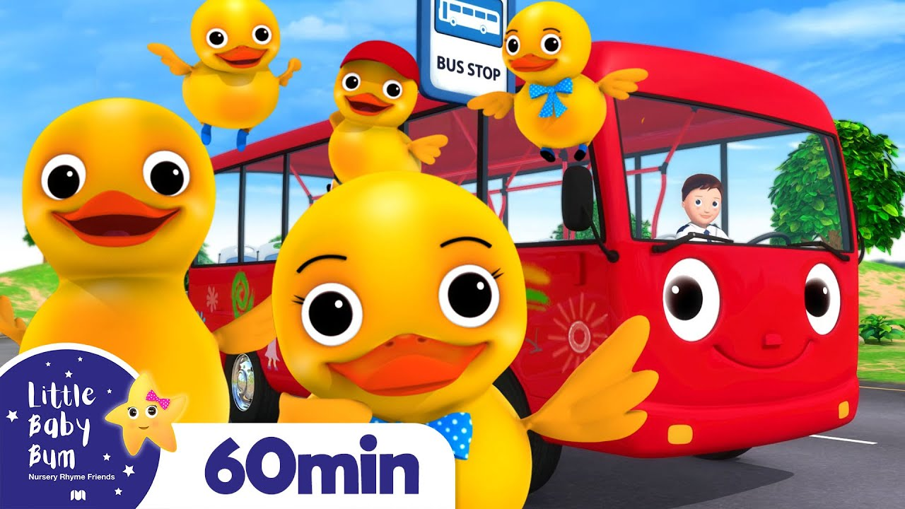 5 Little Ducks On A Bus | +More Nursery Rhymes | ABCs and 123s | Little Baby Bum