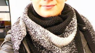 Häkeln Dreieckstuch für den Winter | XXL Tuch in Schwarzweiß | Super einfache Anleitung