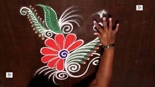 For Navratri Creative & Simple Kolam / rangoli Design without using Dots || maitrin 2018