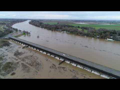 AERIALS: Sacramento Area High Rivers & Nimbus Dam