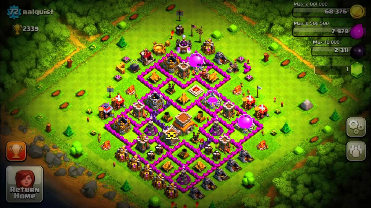 Clash of clans level 8 townhall 2000 trophies defense attack