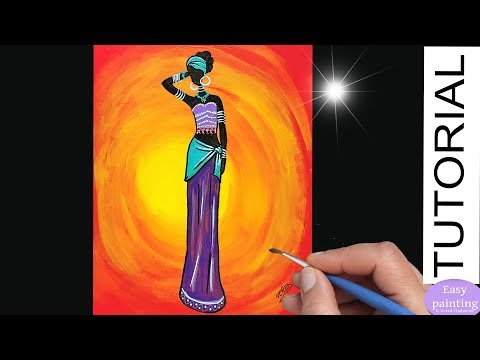 How to paint AFRICAN WOMAN. Painting Tutorial Africa Lady  Step by Step