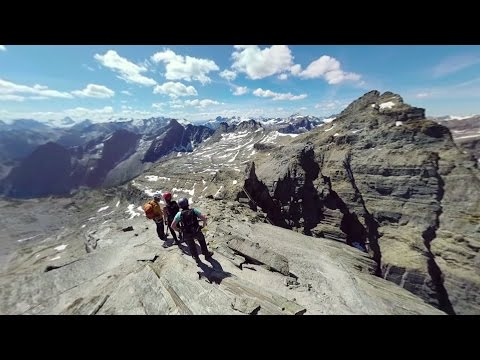 360° Climb Of The Via Ferrata Route In BC's Kootenay Rockies, Canada
