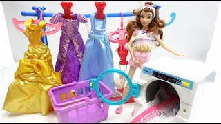 Barbie Belle Beauty and the Beast House Cleaning Morning Routine Pink Bedroom Doll House washing