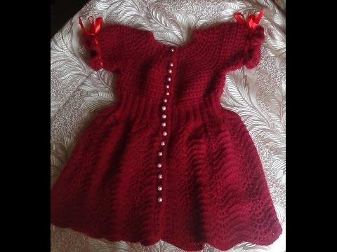 Фото Платье <em>вязание</em> на девочку спелая вишня часть 1 knitting dress for girls