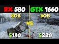 GTX 1660 vs RX 580 Test in 8 Games