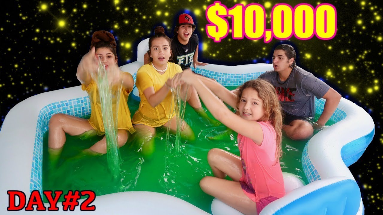 LAST TO LEAVE SLIME POOL WINS 1000000 day2  SISTER