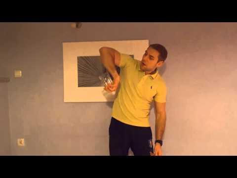 Ćwiczenie kończyny górnej ze szklanką - rehabilitacja, propriocepcja, stabilizacja