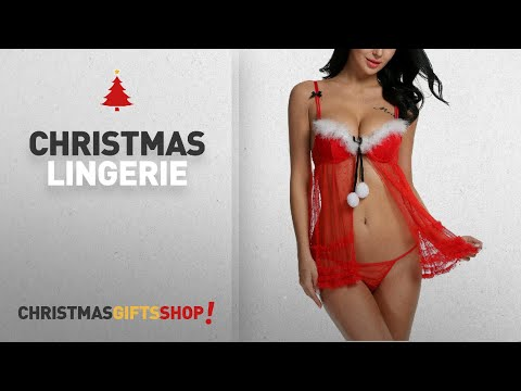 Top Christmas Lingerie Ideas: Avidlove Women Red Christmas Babydolls Set Santa Lingerie Lace