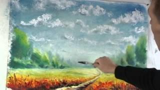 Ч2: ПОЛНЫЙ Урок живописи маслом: КАК Рисовать МАСЛОМ СОЛНЕЧНЫЙ ПЕЙЗАЖ! Мастер класс
