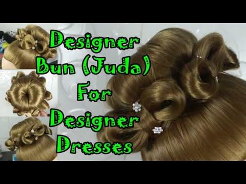 Latest Designer Bun (juda) For Designer Dresses ! Dressy Hairstyles For Long Hair ! Easy Party Bun