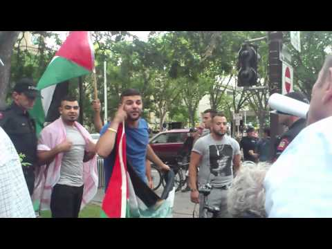 """Pro Palestine protesters yelling """"Heil Hitler"""" in Calgary"""