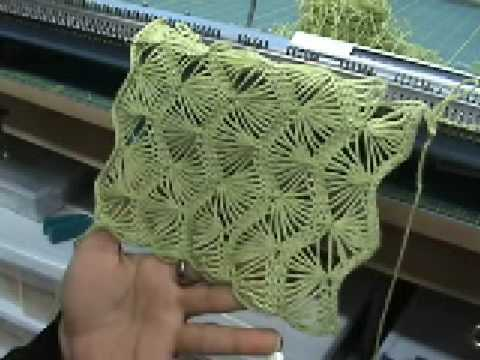 Machine knit fan lace part 3 of 5 - YouTube