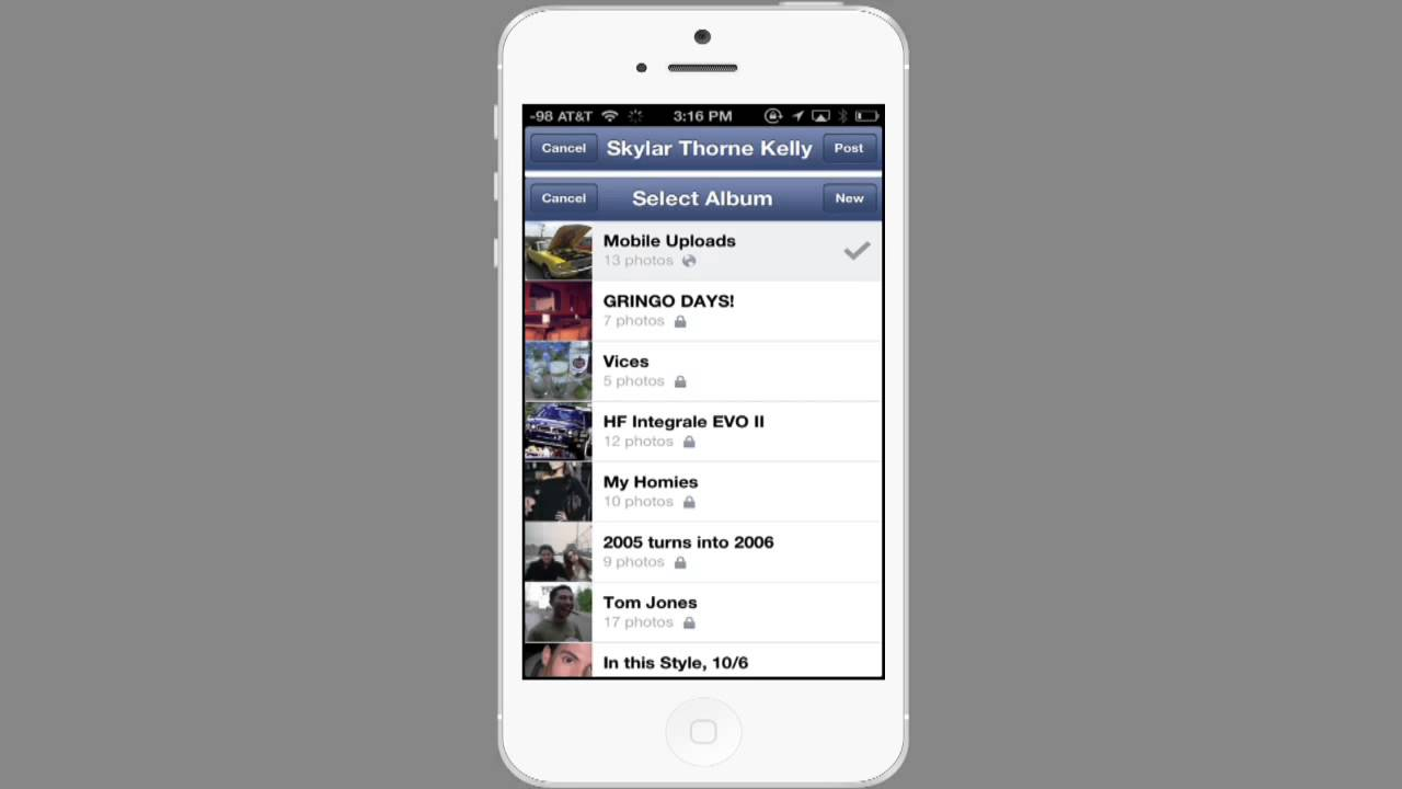upload multiple photos to facebook album iphone