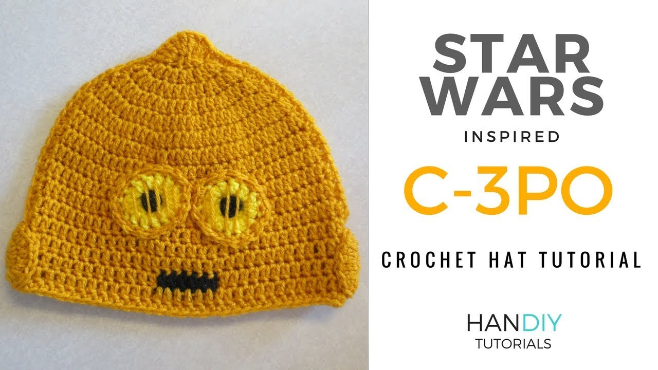 552f4f2e79e C-3PO Droid Crochet Hat Tutorial inspired by Star Wars - YouTube