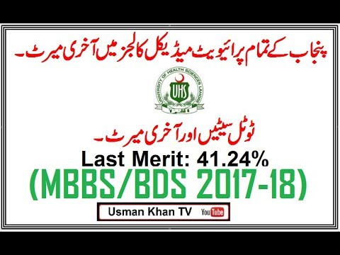 Closing Merit In All Private Medical Colleges Of Punjab (MBBS/BDS 2017-18)