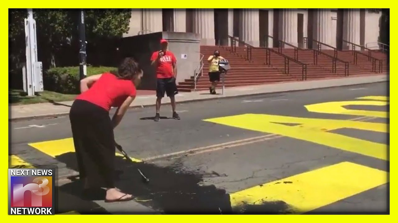 Brave Couple Peacefully Paints Over Giant Black Lives Matter Lettering on California Street