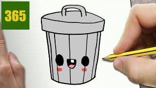 HOW TO DRAW A TRASH CAN CUTE, Easy step by step drawing lessons for kids
