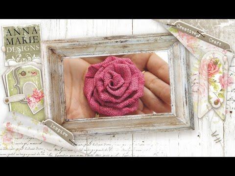 Creative craft how to make a hessian ribbon rose flower for How to make hessian flowers