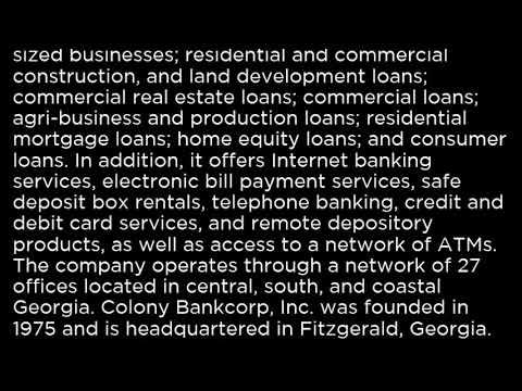 CBAN Colony Bankcorp, Inc  CBAN buy or sell Buffett read basic