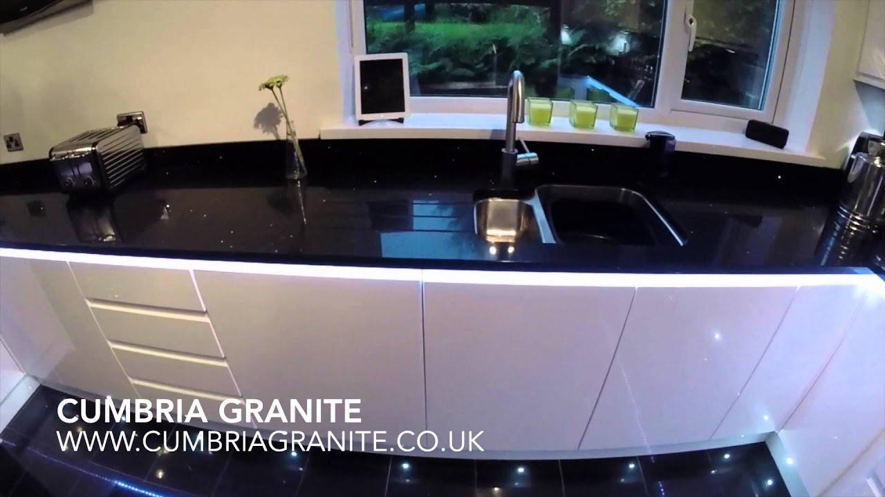 Cumbria Granite Technistone Starlight Black Quartz Youtube
