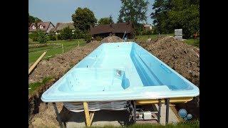 8. PoolsFACTORY GROUP GFK Pool Schwimmbecken - Poolmontage im Garten, Bauanleitung, Pool bauen
