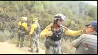 Las brigadas antincendios luchan contra la voracidad de las llamas en Castrocontrigo