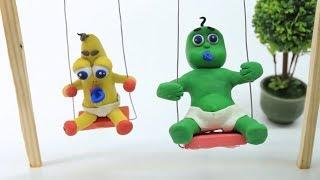 Baby Video Cartoons - Green Baby Compilation 48 to 57 Ep. - Play Doh Baby Stop-Motions
