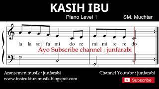 not balok kasih ibu - tutorial piano tingkat 1 - notasi lagu anak - doremi solmisasi