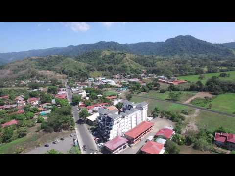 Jaco, Costa Rica beach and city aerial 4K flyover