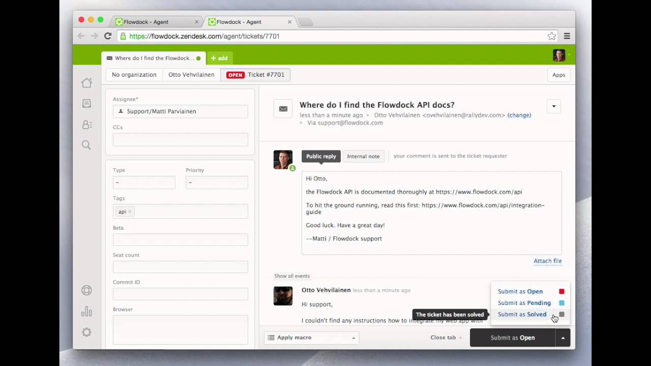 Tackle support with Flowdock's two-way Zendesk integration