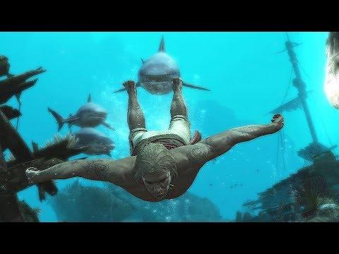 Assassin's Creed 4 Black Flag Underwater Exploration & Jackdaw Rampage