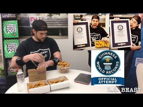 Most Chicken Nuggets Eaten in 3 min (NEW Guinness World Records Title) | L.A.BEAST