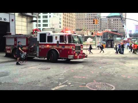 FDNY ENGINE 10 RESPONDING FROM QUARTERS ON LIBERTY STREET IN MANHATTAN IN NEW YORK CITY.