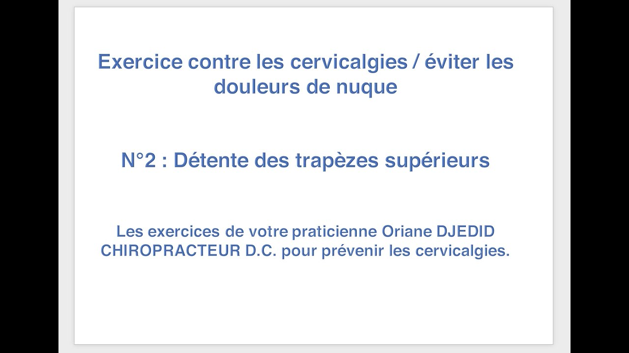 Exercices complets pour soulager le cou / Cervicalagies. n°2