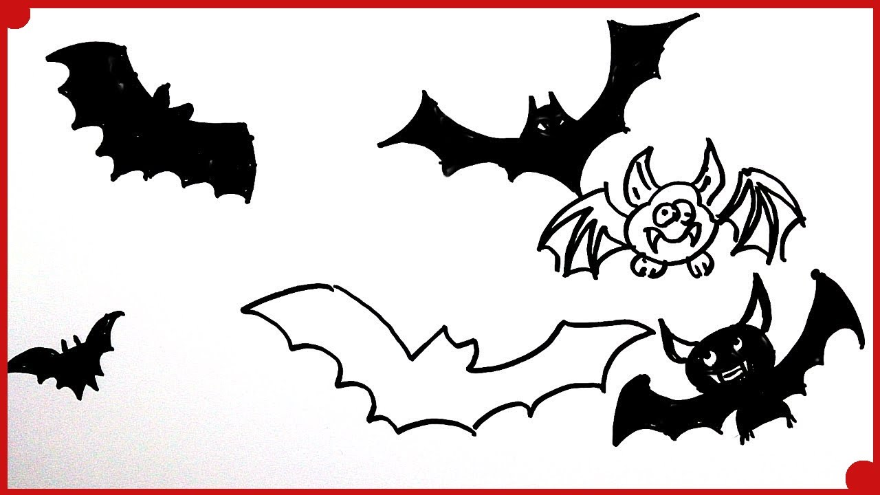 Como Dibujar Murcielagos de Halloween para Nios How to draw a