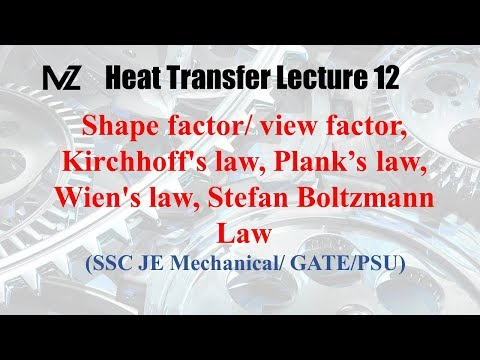 Heat transfer  Radiation lecture 12 : Shape factor | Kirchhoff's Law | Plank's Law