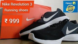 Nike Revolution 3 Running Shoes ( Black, Grey )   Only 999   Flipkart   Big billion days   Unboxing