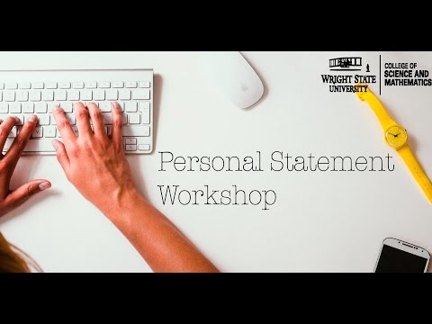 Wright State University Pre-health Program Personal Statements Workshop
