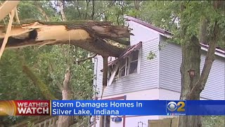 Strong winds damaged dozens of homes in Silver Lake, Indiana. The w...